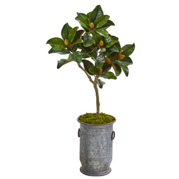 45 Magnolia Leaf Artificial Tree in Vintage Metal Planter - SKU #9651