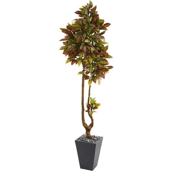 70 Croton Artificial Tree in Slate Planter - SKU #9652