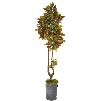 73 Croton Artificial Tree in Decorative Planter - SKU #9653