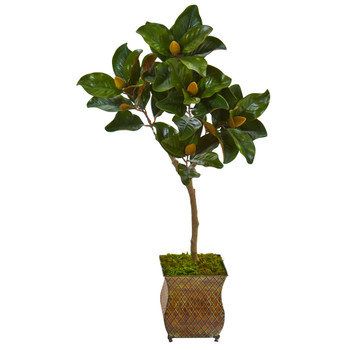 42 Magnolia Leaf Artificial Tree in Decorative Metal Planter - SKU #9654