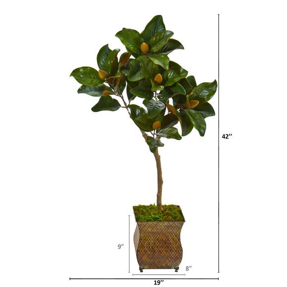 42 Magnolia Leaf Artificial Tree in Decorative Metal Planter - SKU #9654 - 1