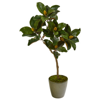 41 Magnolia Leaf Artificial Tree in Olive Green Planter - SKU #9655