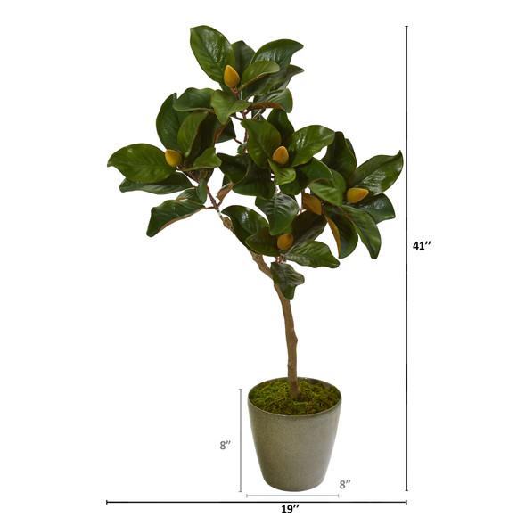 41 Magnolia Leaf Artificial Tree in Olive Green Planter - SKU #9655 - 1