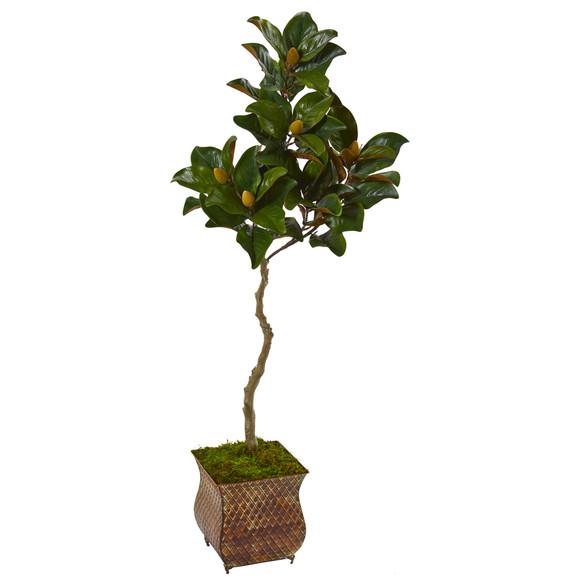 58 Magnolia Artificial Tree in Metal Planter - SKU #9656