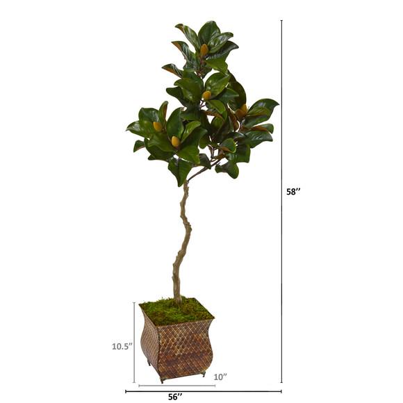 58 Magnolia Artificial Tree in Metal Planter - SKU #9656 - 1