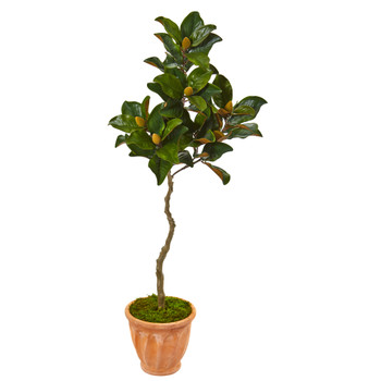 56 Magnolia Artificial Tree in Orange Planter - SKU #9657