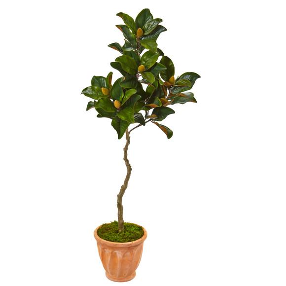 56 Magnolia Artificial Tree in Orange Planter - SKU #9657