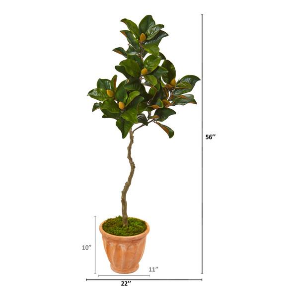 56 Magnolia Artificial Tree in Orange Planter - SKU #9657 - 1
