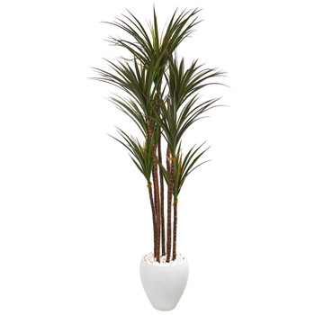 70 Giant Yucca Artificial Tree in White Planter UV Resistant - SKU #9659