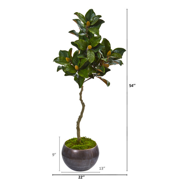 54 Magnolia Artificial Tree in Metal Bowl - SKU #9660 - 1