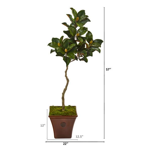 57 Magnolia Artificial Tree in Decorative Planter - SKU #9661 - 1
