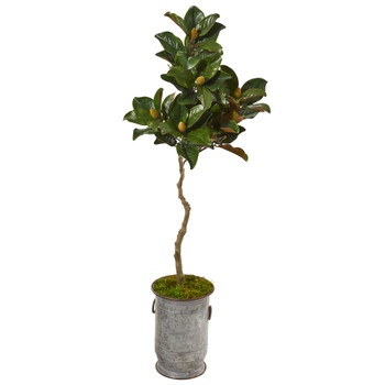 61 Magnolia Artificial Tree in Vintage Metal Planter - SKU #9662
