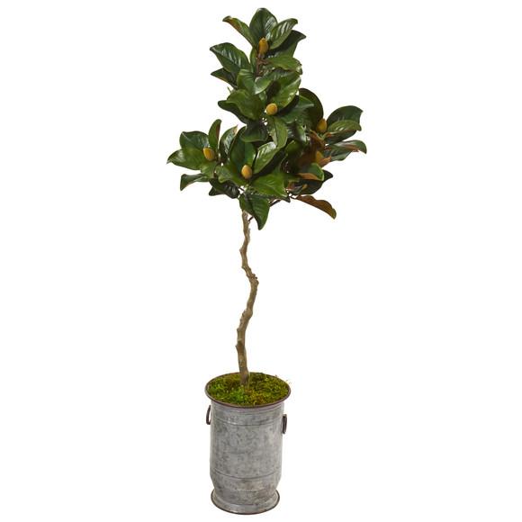 61 Magnolia Artificial Tree in Vintage Metal Planter - SKU #9662