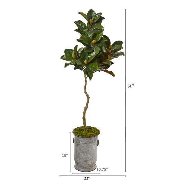 61 Magnolia Artificial Tree in Vintage Metal Planter - SKU #9662 - 1