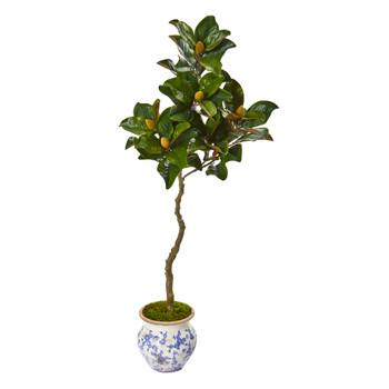 57 Magnolia Artificial Tree in Vintage Floral Planter - SKU #9663