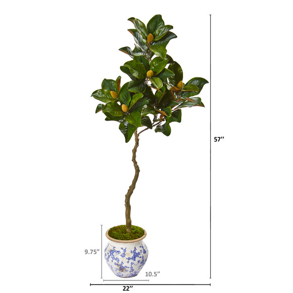 57 Magnolia Artificial Tree in Vintage Floral Planter - SKU #9663 - 1