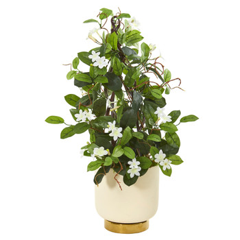 26 Stephanotis Artificial Plant in White Designer Bowl - SKU #9664