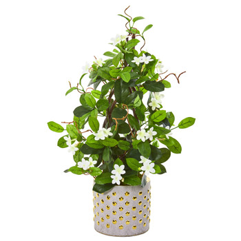 25 Stephanotis Artificial Climbing Plant in Designer Planter - SKU #9665