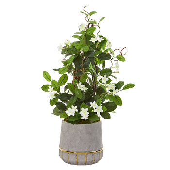 26 Stephanotis Artificial Plant in Stoneware Planter - SKU #9666
