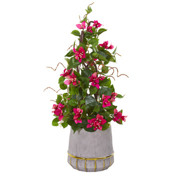 26 Bougainvillea Artificial Plant in Stoneware Planter - SKU #9667