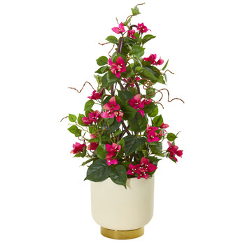 26 Bougainvillea Artificial Plant in White Designer Bowl - SKU #9668