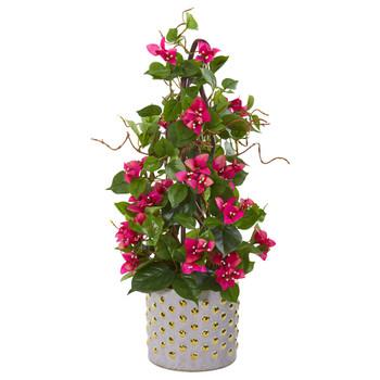 25 Bougainvillea Artificial Climbing Plant in Designer Vase - SKU #9669