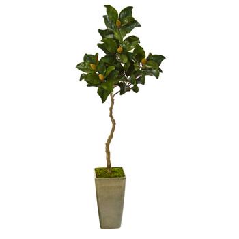63 Magnolia Artificial Tree in Green Planter - SKU #9670