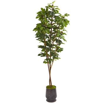 88 Fig Artificial Tree in Ribbed Metal Planter - SKU #9673