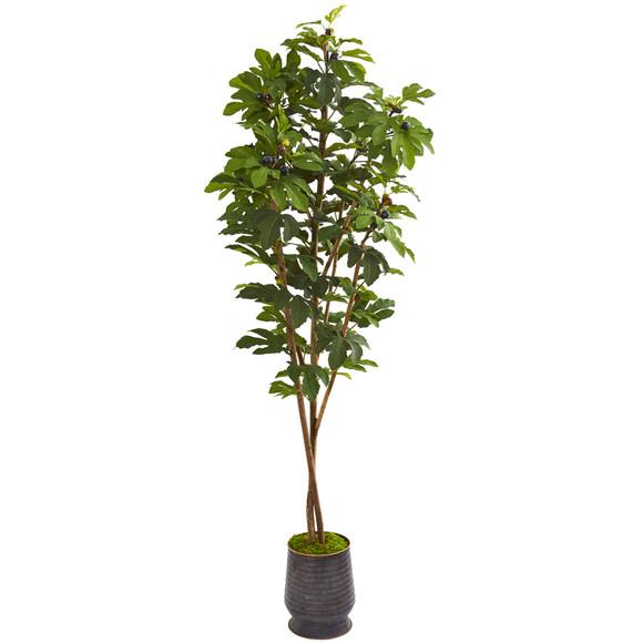 88 Fig Artificial Tree in Ribbed Metal Planter - SKU #9673
