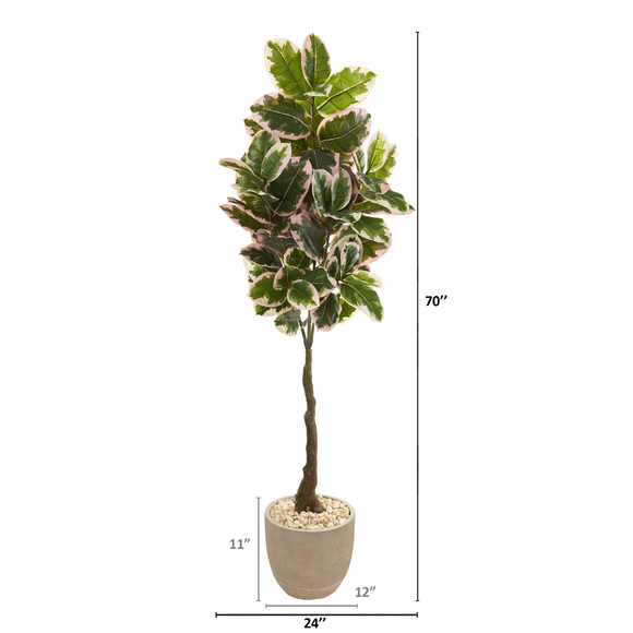 70 Variegated Rubber Leaf Artificial Tree in Sandstone Planter Real Touch - SKU #9674 - 1