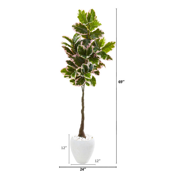 69 Variegated Rubber Leaf Artificial Tree in White Planter Real Touch - SKU #9675 - 1