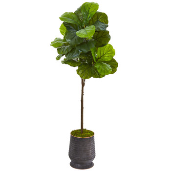 62 Fiddle Leaf Artificial Tree in Ribbed Metal Planter Real Touch - SKU #9677