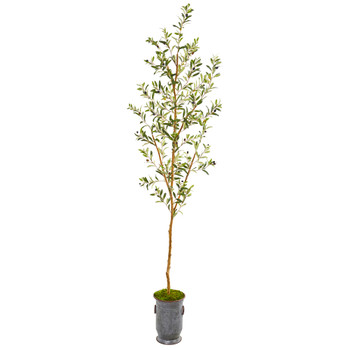 7.5 Olive Artificial Tree in Decorative Planter - SKU #9678