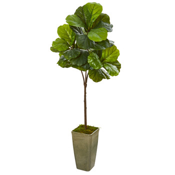 66 Fiddle Leaf Artificial Tree in Green Planter Real Touch - SKU #9679