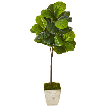 5 Fiddle Leaf Artificial Tree in Country White Planter Real Touch - SKU #9680