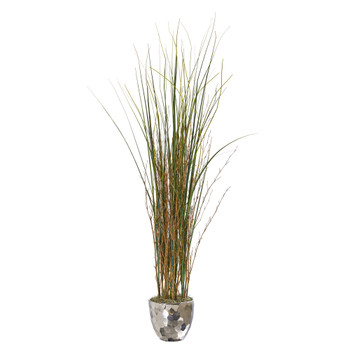 40 Grass and Bamboo Artificial Plant in Designer Silver Bowl - SKU #9681