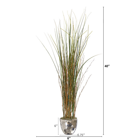 40 Grass and Bamboo Artificial Plant in Designer Silver Bowl - SKU #9681 - 1