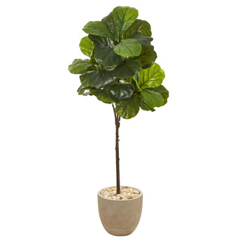 51 Fiddle Leaf Artificial Tree in Sandstone Planter Real Touch - SKU #9683