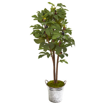 4 Fig Artificial Tree in Vintage Metal Planter - SKU #9685