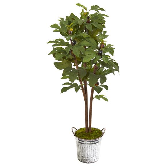 4 Fig Artificial Tree in Vintage Metal Planter - SKU #9685