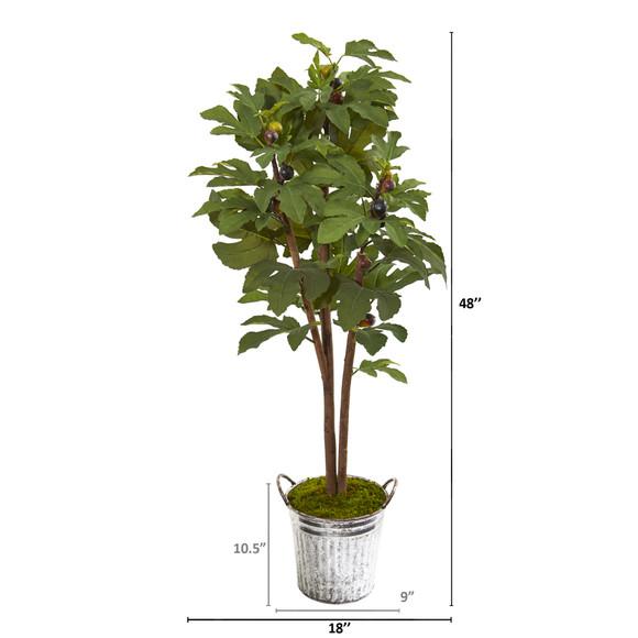 4 Fig Artificial Tree in Vintage Metal Planter - SKU #9685 - 1
