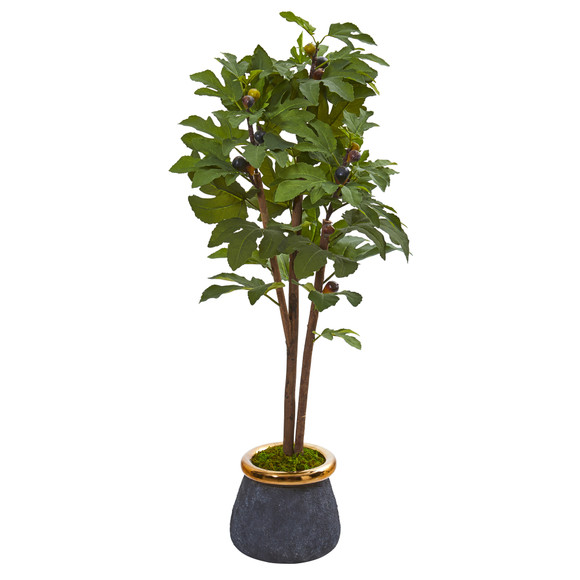 46 Fig Artificial Tree in Planter with Brass Trimming - SKU #9686