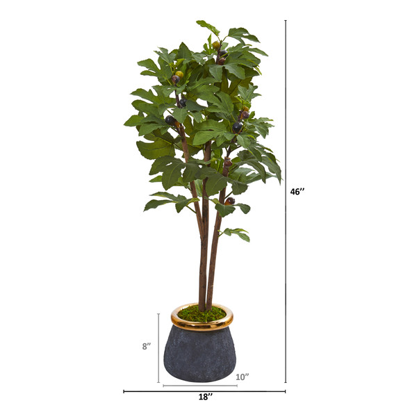46 Fig Artificial Tree in Planter with Brass Trimming - SKU #9686 - 1