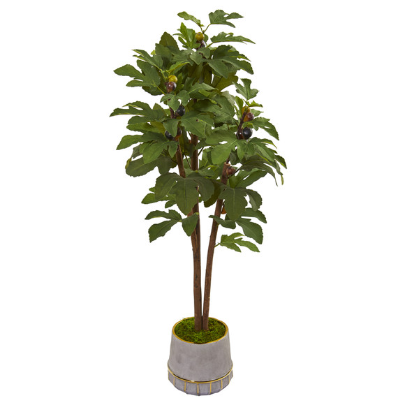 47 Fig Artificial Tree in Stoneware Vase with Gold Trimming - SKU #9688