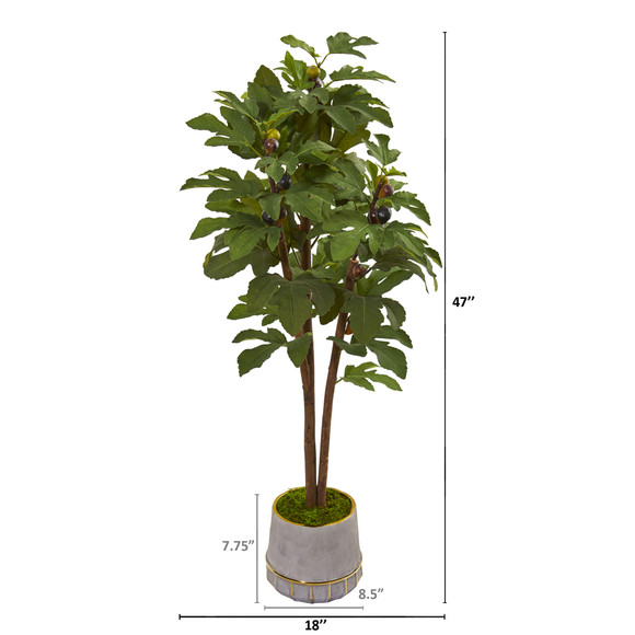 47 Fig Artificial Tree in Stoneware Vase with Gold Trimming - SKU #9688 - 1