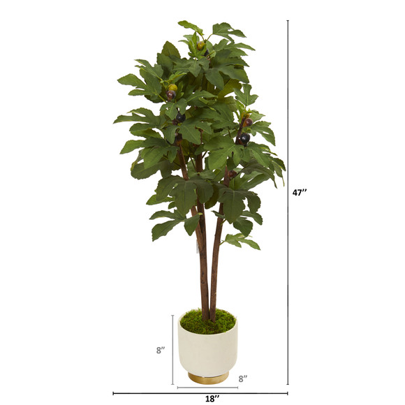 47 Fig Artificial Tree in White Bowl - SKU #9690 - 1