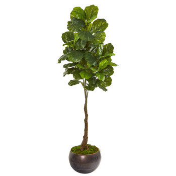 66 Fiddle Leaf Artificial Tree in Metal Bowl Real Touch - SKU #9691