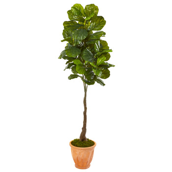 67 Fiddle Leaf Artificial Tree in Terra-Cotta Planter Real Touch - SKU #9692