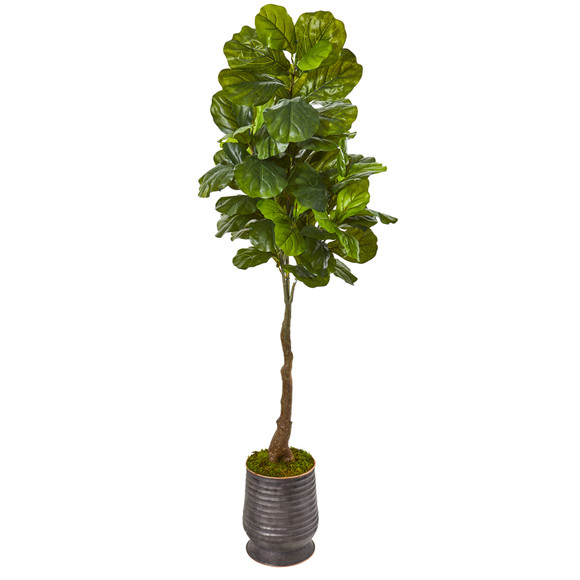 69 Fiddle Leaf Artificial Tree in Ribbed Metal Planter Real Touch - SKU #9693