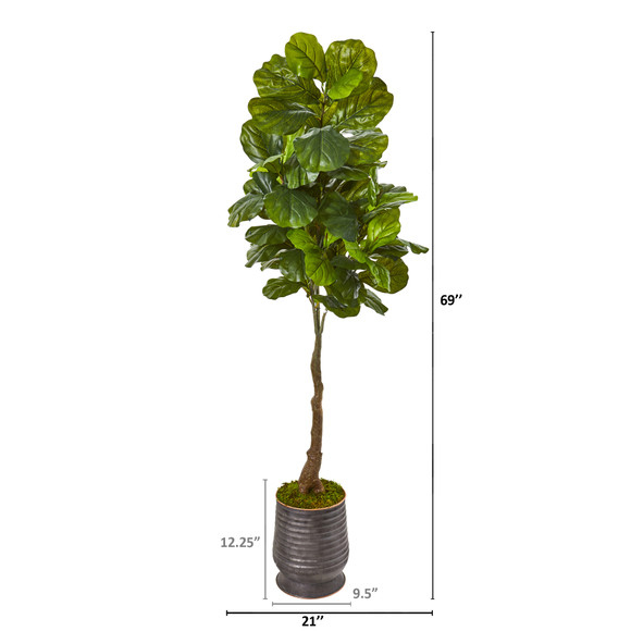 69 Fiddle Leaf Artificial Tree in Ribbed Metal Planter Real Touch - SKU #9693 - 1
